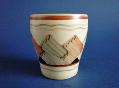 Rare Gray's Pottery Hand Painted 'Cubist' Beaker - Signed 'Mae' c1935